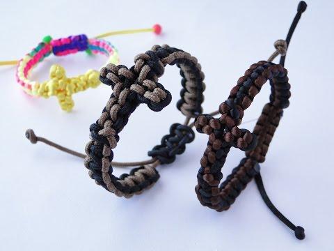 How to Make a Paracord/Macrame Cross Bracelet by CreationsByS- Sliding Knot Bracelet