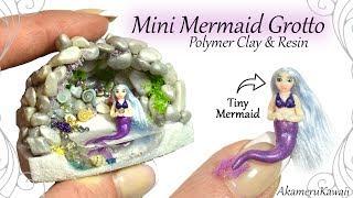 How to: Mini Mermaid Grotto - Aquarium / Fairy Garden, Resin & Polymer Clay Tutorial