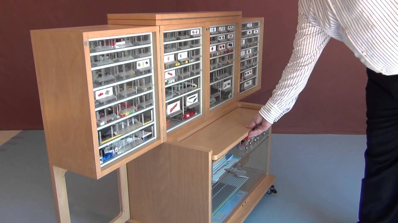 Storage cabinet with extendable worktop for LEGO type ...