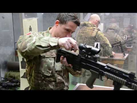 British Armed Forces zeroing weapon at Training Support Center Benelux 25 meter indoor range