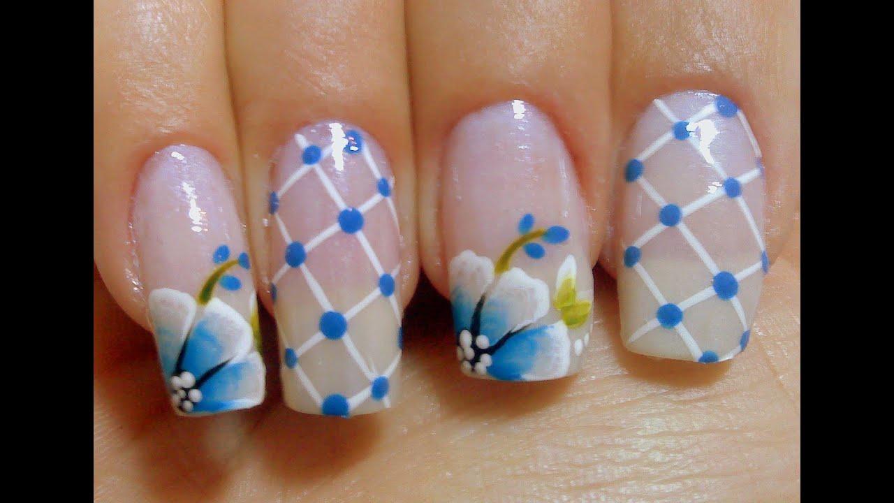 Desenhos de flores para unhas Rosas Azul