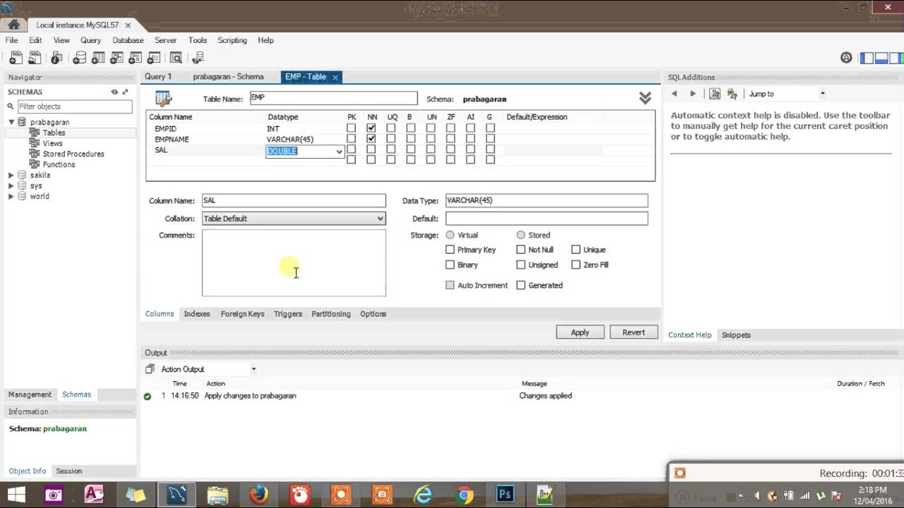 how to use mysql workbench to create a database