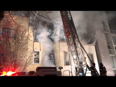 FDNY BATTLING MAJOR 4TH ALARM FIRE ON DIAMOND STREET IN GREENPOINT AREA OF BROOKLYN, NEW YORK CITY.