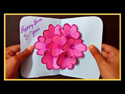 diy 3d flower pop up card how to make easy greetings card happy new year card 2018 handmade