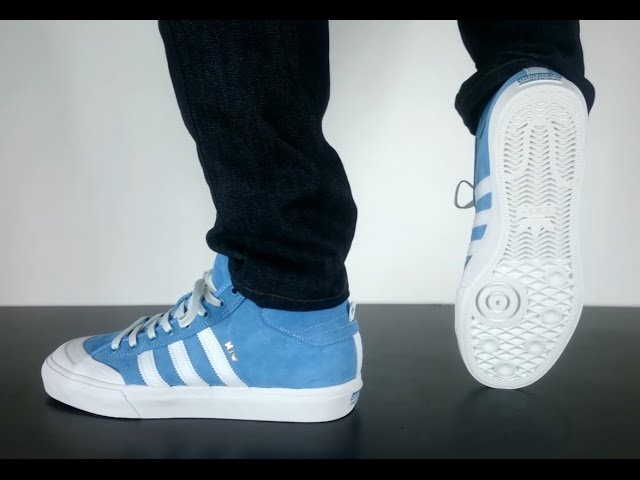 ADIDAS SKATEBOARDING MATCHCOURT MID M J light blue neo white goldmetal -  YouTube 4b27912b5