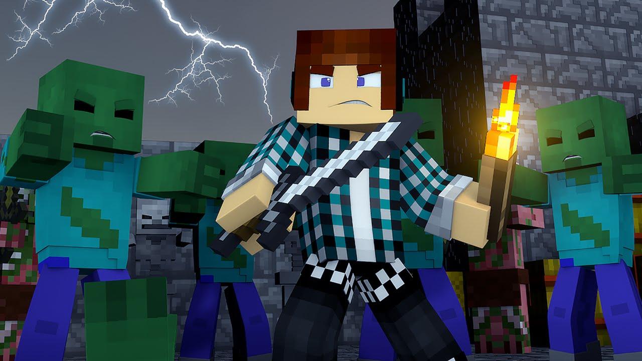 Minecraft salvei o mundo de zumbis monstros vs - Minecraft zombie vs creeper ...