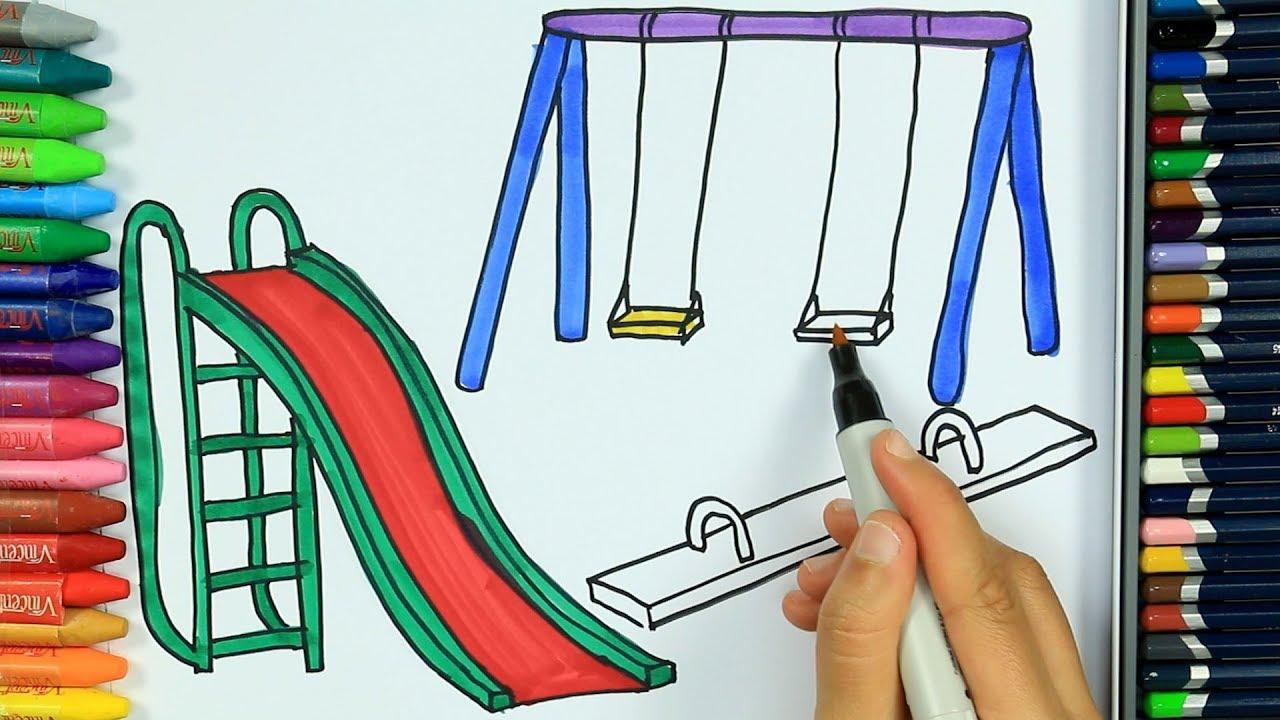 Cómo dibujar un parque infantil - Cómo dibujar y colorear los para niños