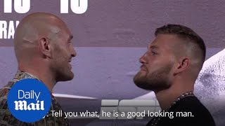 Tyson Fury in unusually friendly face-off with Tom Schwarz ahead of Las Vegas fight