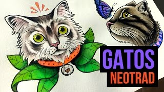 DOIS GATOS | Cats - Neo Trad - Speed Drawing #17