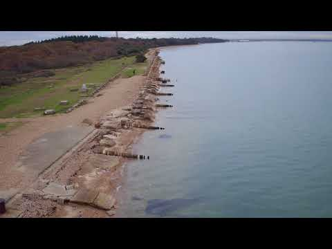 Drone shot of D-Day remains at Lepe in the New Forest National Park