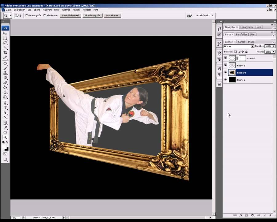 Aus dem Bilderrahmen heraus - Photoshop Tutorial Basic - YouTube