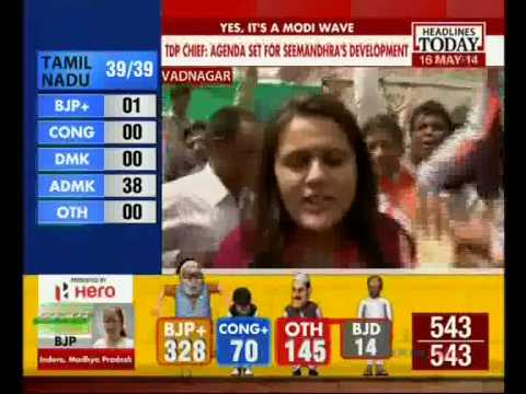 "TSU ""NAMO"" Sweeps Country: BJP Gets Clear Majority (Headline Today, 16-May-14)"