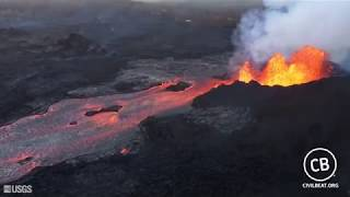 Kilauea Lava Fissure 8 And Lava Flow June 6, 2018