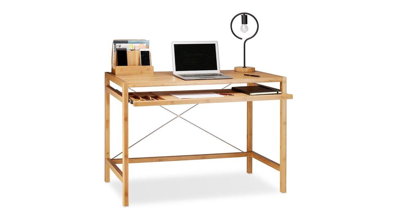 computertisch holz mit tastaturauszug youtube. Black Bedroom Furniture Sets. Home Design Ideas