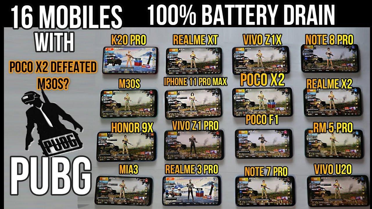 Download 16 Mobiles  - 100% Battery Drain Test With Pubg -Poco X2,Realme x2