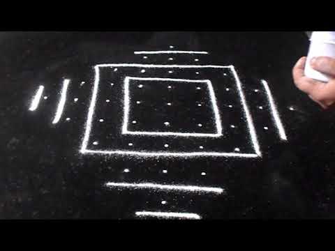 Simple Lines Kolam - 9 Dots Diwali Rangoli Designs | Sudha Balaji