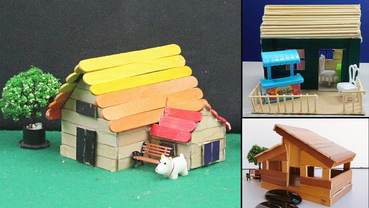 5 Easy Handmade Popsicle Stick House Dollhouse 25 Diy Crafts