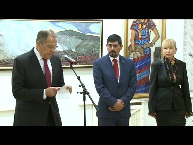 С.В.Лавров на открытии выставки в галерее И.С.Глазунова