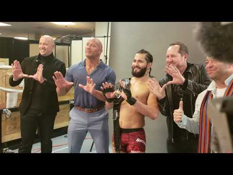 "Jorge Masvidal and Dwayne ""The Rock"" Johnson chop it up backstage."