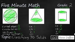 2nd Grade Math Classifying 3D Solids