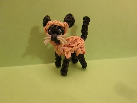 Rainbow Loom Siamese Cat or Kitten Charm. 3-D
