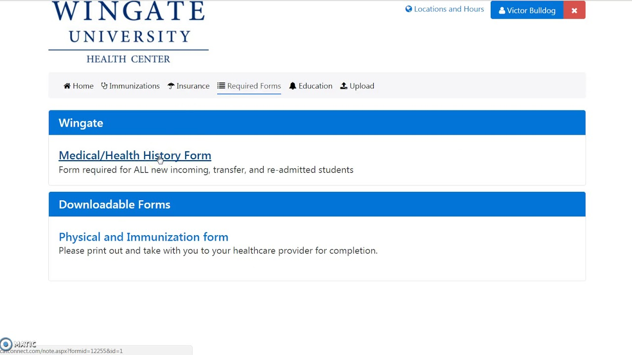 wingate university health forms tutorial youtube