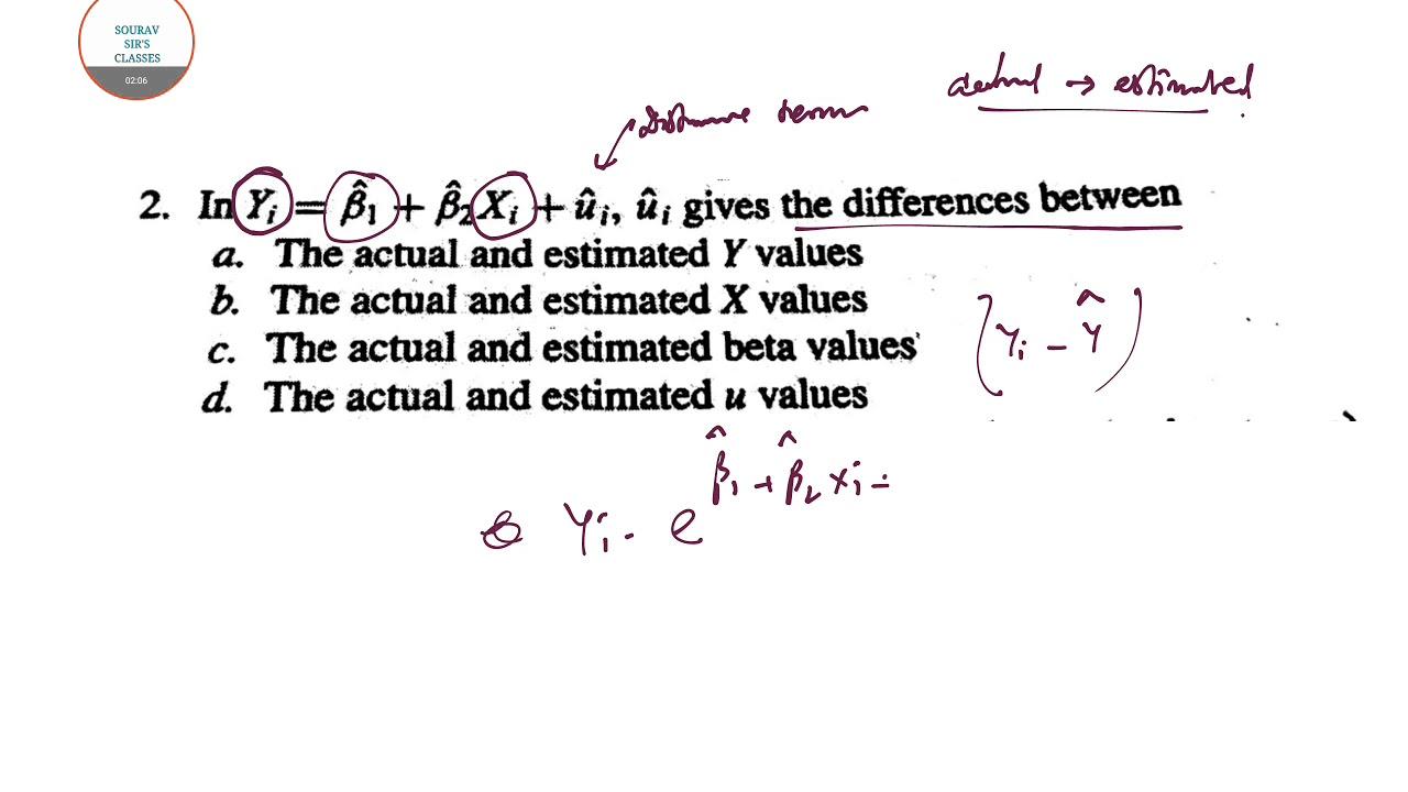 ECONOMETRICS MCQ REGRESSION ANALYSIS COMPLETE PAPER SOLVE,MOCK TESTS,ONLINE  CLASSES