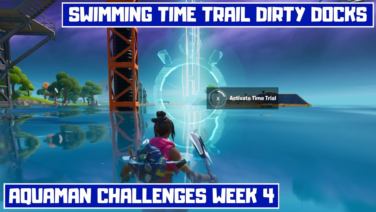 Complete the Swimming Time Trail at Dirty Docks in Fortnite! - Aquaman Challenges Week 4