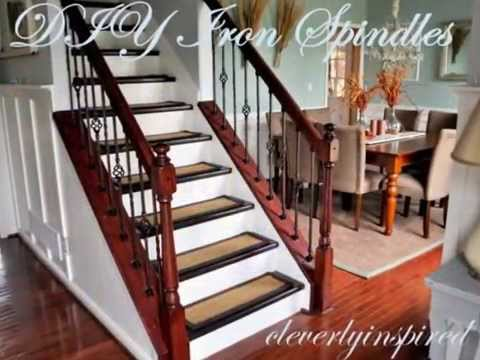 Diy Iron Spindles Staircase Remodel Youtube   Replacing Wood Balusters With Iron   Staircase   Stair Spindles   Stair Parts   Handrail   Stair Railing