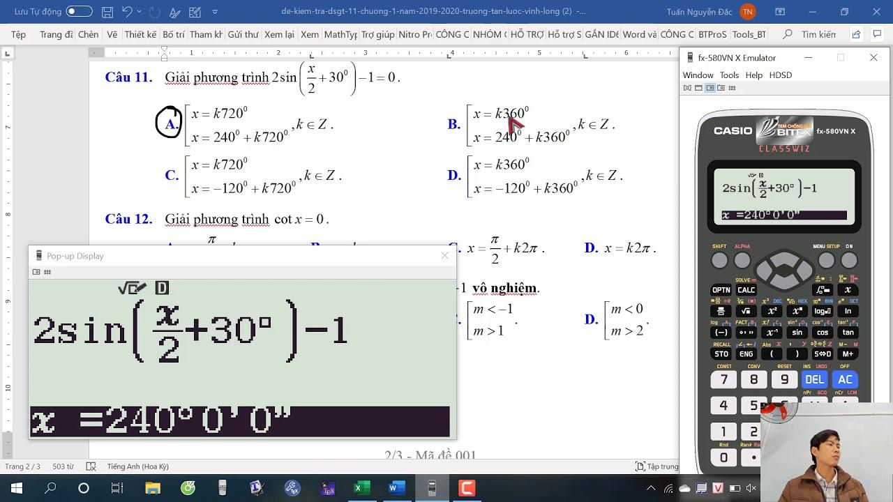 Cách tìm nghiệm của phương trình lượng giác nhanh bằng casio như thế nào