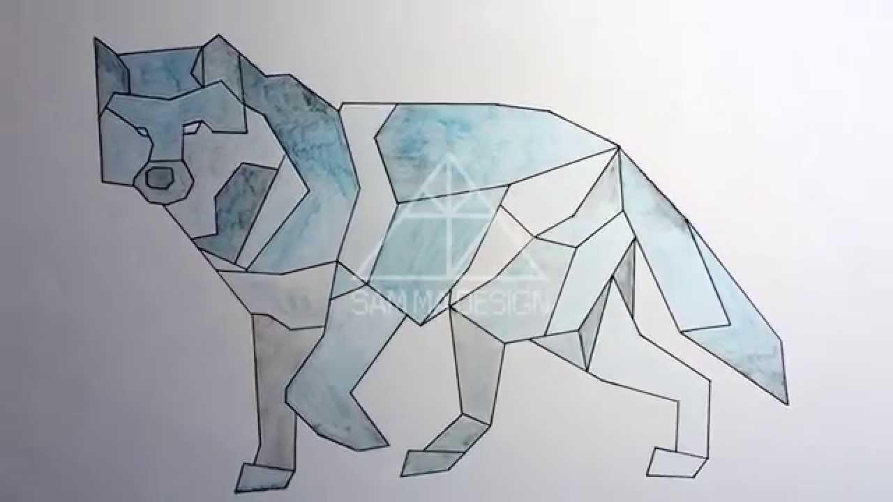Geometric Wolf - Transparent Art - Time lapse - YouTube