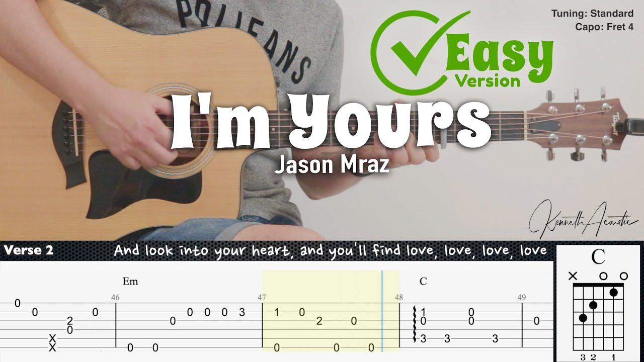 I'm Yours (Easy Version) - Jason Mraz | Fingerstyle Guitar | TAB + Chords + Lyrics