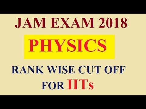 IIT JAM EXAM RANK WISE CUT OFF FOR IITs/PHYSICS/JAM EXAM 2018