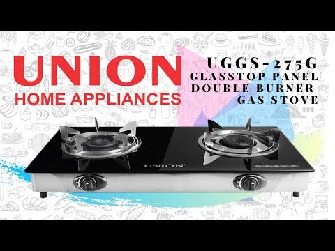 UNION UGGS-275G GLASS TOP PANEL DOUBLE BURNER GAS STOVE