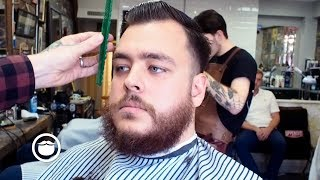 Video Classic Side Part and Beard Trim at the Barbershop download MP3, 3GP, MP4, WEBM, AVI, FLV September 2017