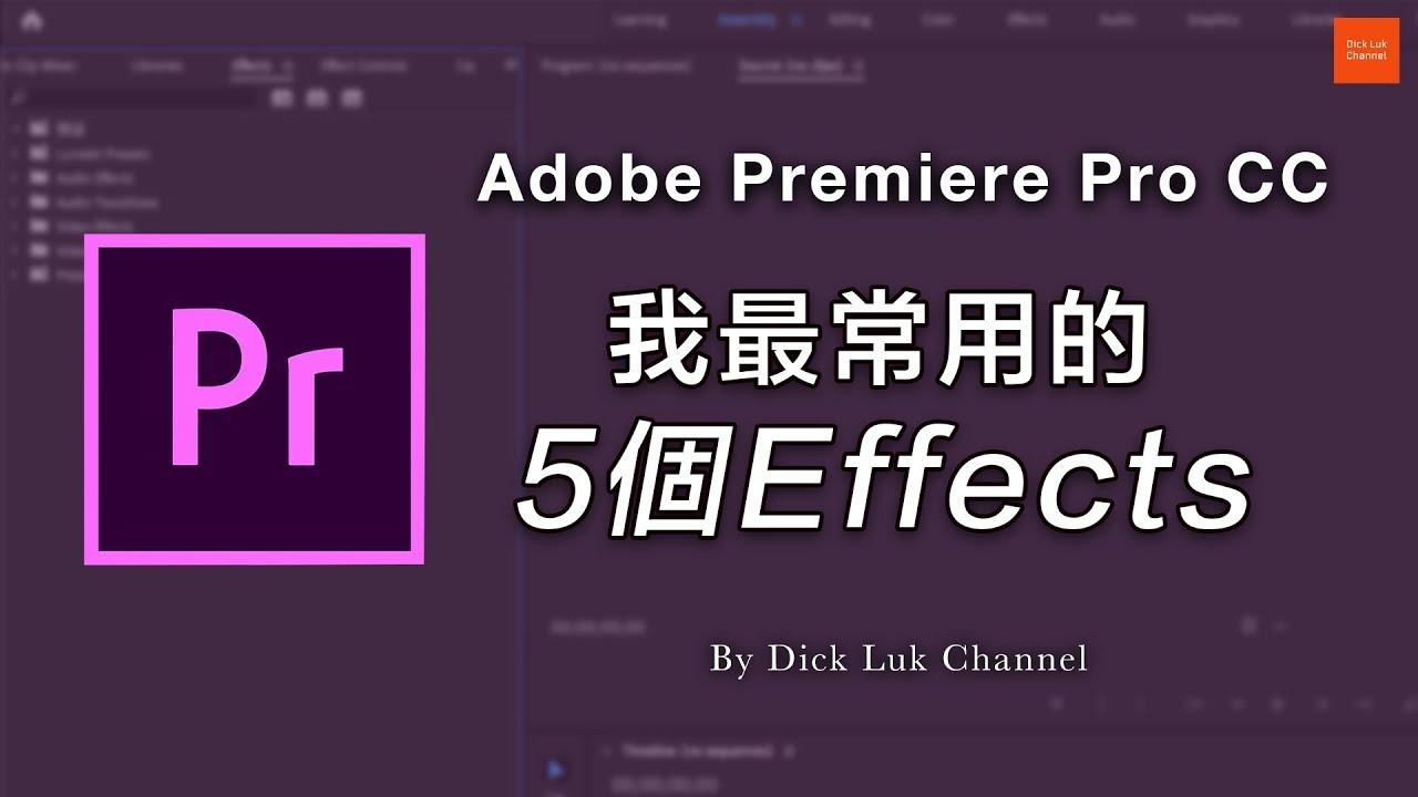 Adobe Premiere Pro CC 初學者入門教學: 我最常用的5個Effects (#廣東話) - YouTube