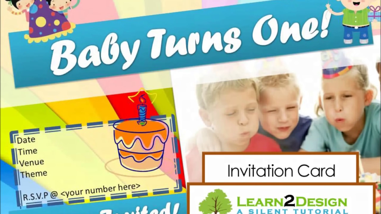 #MagicFingers| Birthday Invitation Card Using Microsoft Powerpoint   YouTube  Microsoft Word Birthday Invitation Templates