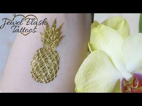 Temporary Metallic Gold Pineapple Tattoo Jewel Flash Tattoos Fake Body Stickers How to Apply Remove