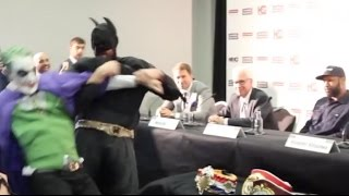 TYSON FURY & THE JOKER FIGHT & KNOCK KLITSCHKO'S BELTS OFF PRESS CONFERENCE TABLE / THROW BACK FURY