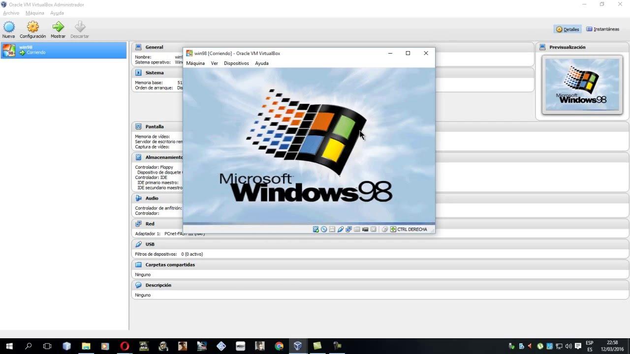 como instalar windows 98 en virtualbox