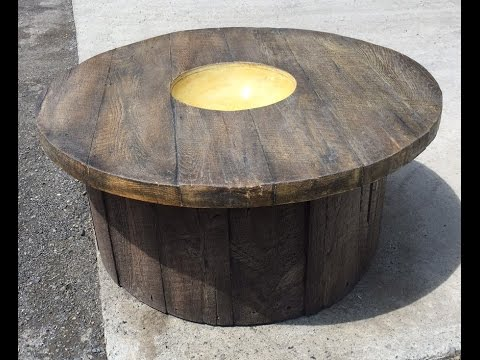 Trinic GFRC wood look concrete table and round base