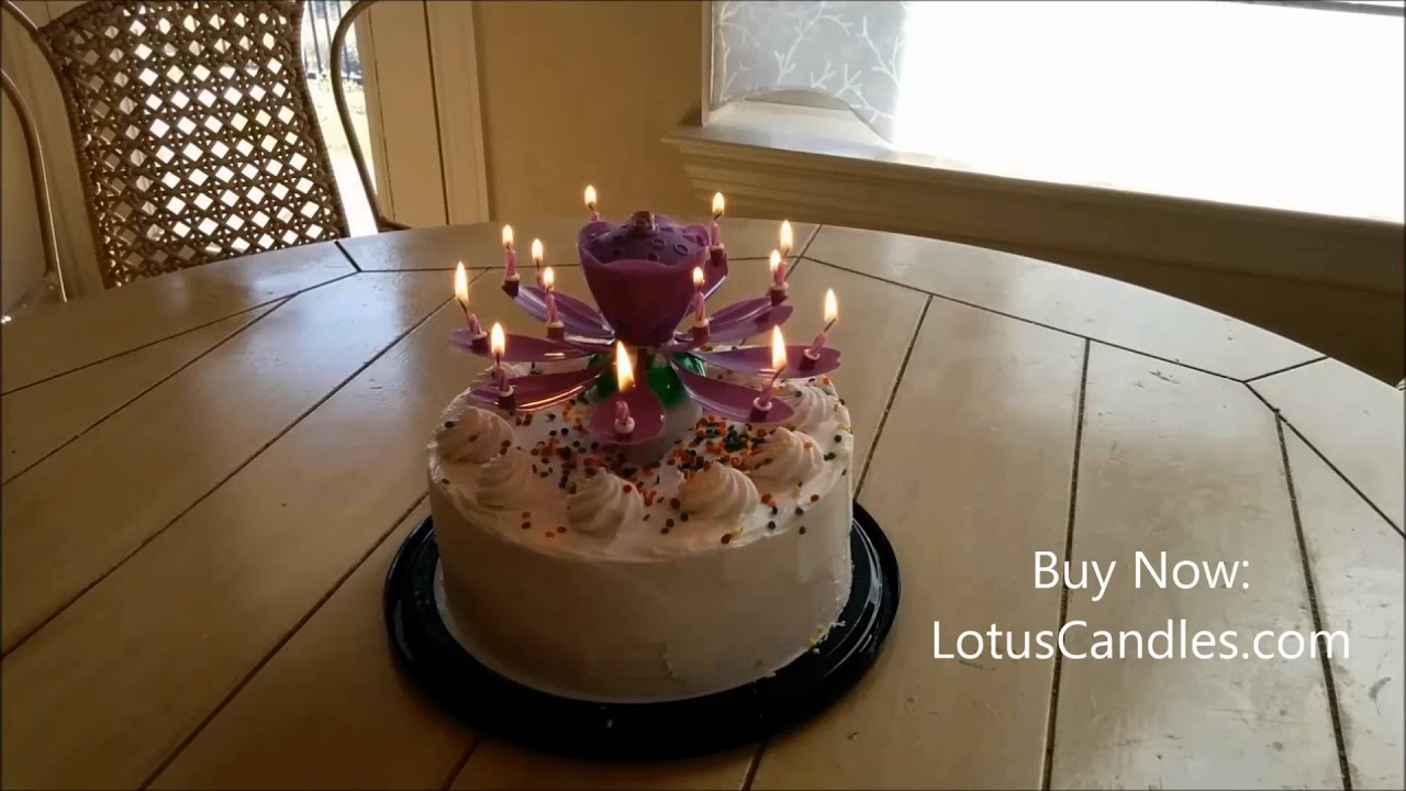 Purple Lotus CandleTM On Round Cake