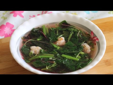 Canh Rau Den (Chinese Red Spinach Shrimp Soup) Healthy Recipe