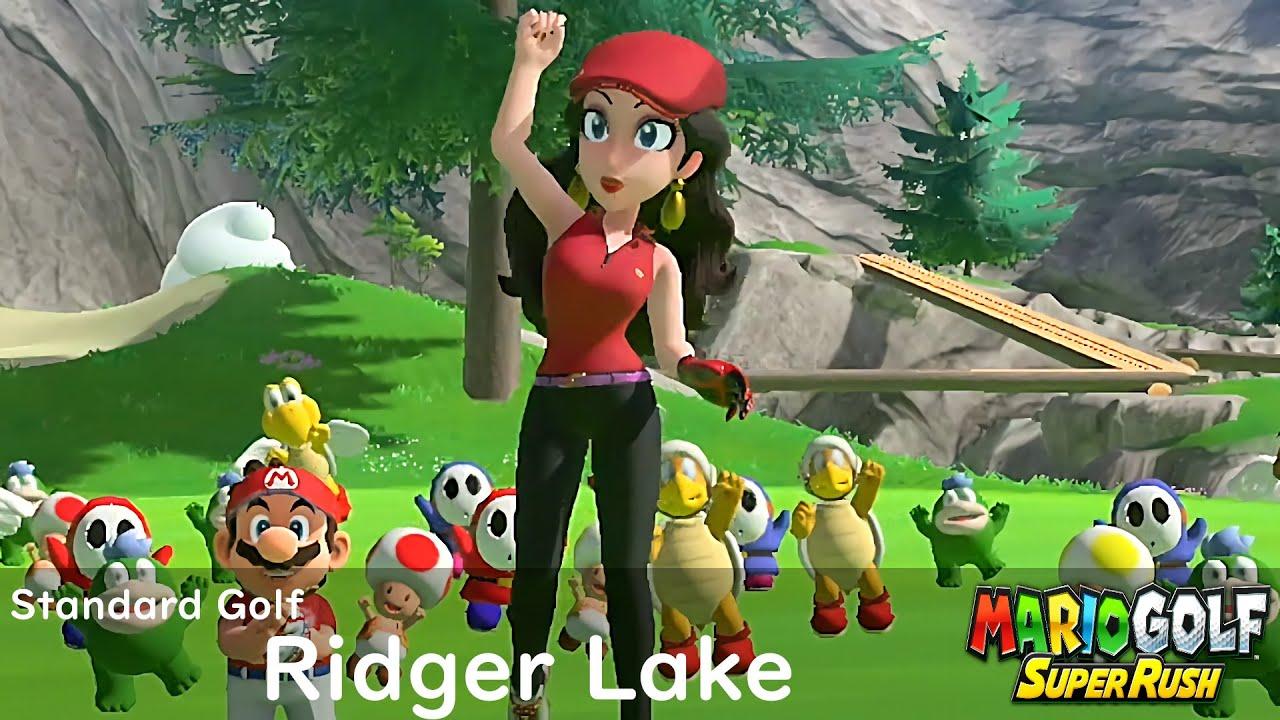 Mario Golf Super Rush Pauline vs Rosalina vs Mario vs King Bob omb in Ridger Lake