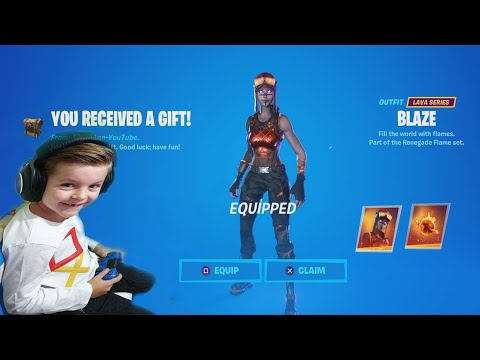 TRUMAnn Giving His 6 Year Old Kid NEW BLAZE (Renegade Raider) NEW Fortnite Item Shop Skin!!