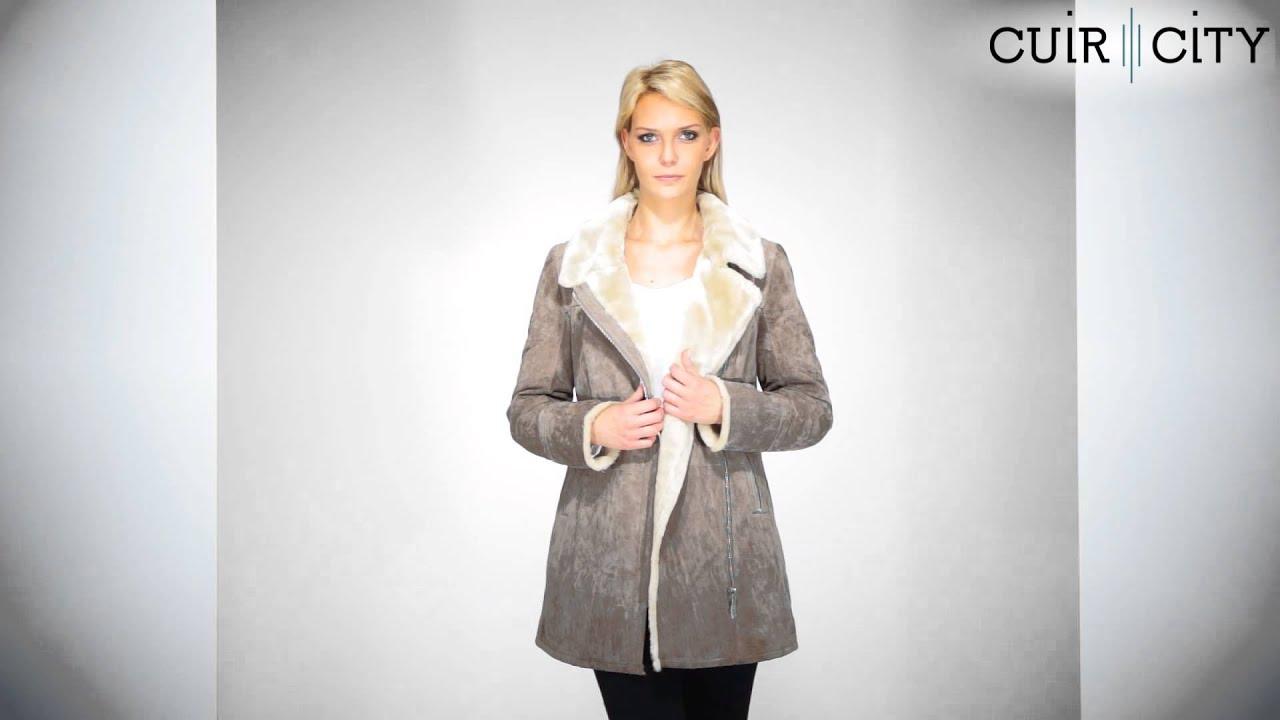 Manteau cuir mi long femme