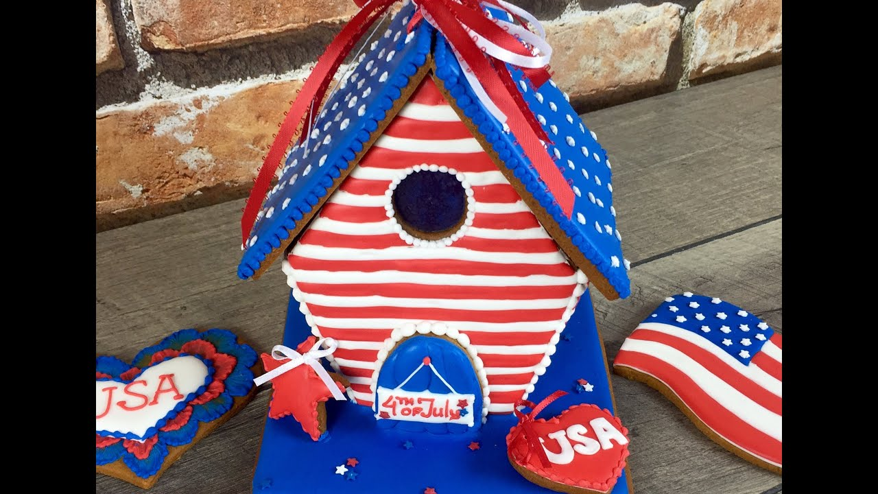 4th Of July Gingerbread House Decoration By Talecookies