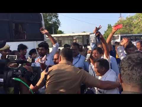 Protest outside M.A. Chidambaram Stadium