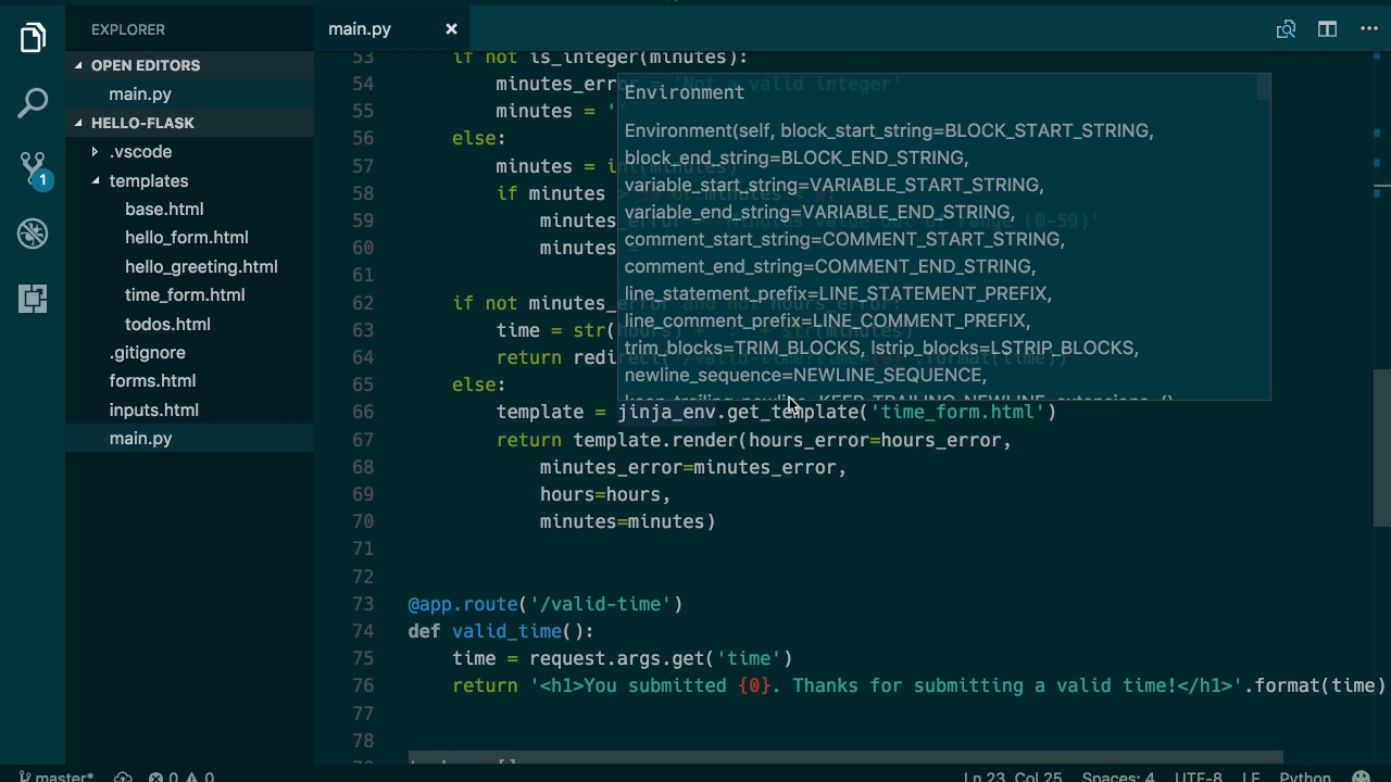 Using render_template in Flask