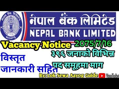 Vacancy Nepal Bank Limited ३९६ जनाको माग नेपाल बैंक मा सम्पूर्ण जानकारी कसरि कहाँ कुन पद भर्ने ?
